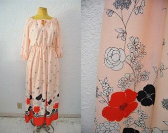 Vintage 70s Pink Flower Print Maxi Long Dress Boho Bohemian Hippie