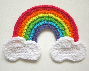 "Large 6.5"" Crochet GIRLY RAINBOW with CLOUDS Applique"