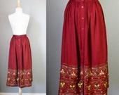 Burgundy Skirt / Vtg / Smithsonian Folk Art High Waisted Embroidered Burgundy Skirt / Dirndl Skirt
