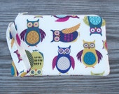 Wristlet Purse, Wristlet Clutch, Cell Phone Wristlet, Wristlet Wallet, Owl Print, Owl Fabric, Bags and Purses