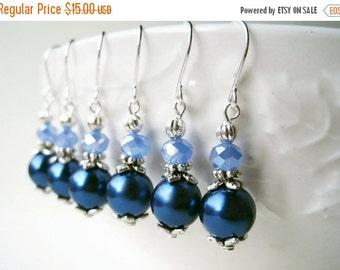 Blue Pearl Earrings. Handmade Marine Navy and Capri Blue Bridesmaid Earrings. Vintage Inspired Silver Small Drop Wedding Earrings. GPB1