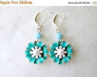 Turquoise Flower Earrings. Sky Blue Enamel Flower Dangle Earrings with Ivory Pearls. Colorful Retro Style Womens Fashion Jewelry.