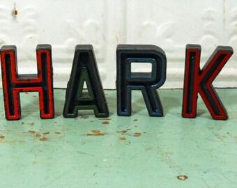 Vintage Alphabet Block Letters Hark Set of Four H A R K