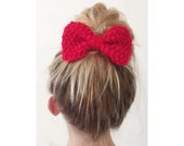 SALE - BOW Hand Knit Red Bow - Hair Bow Clip