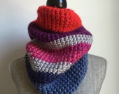 Multicolored Bulky Cowl - Red, Purple, Pink, Blue