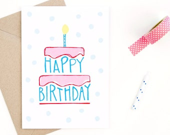 happy birthday card - recycled paper