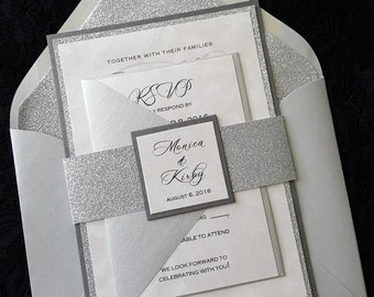 Glitter Wedding Invitation, Silver Glitter Wedding  Invitation,  Elegant Wedding Invitation, Silver Wedding Invitation, Wedding Invitation