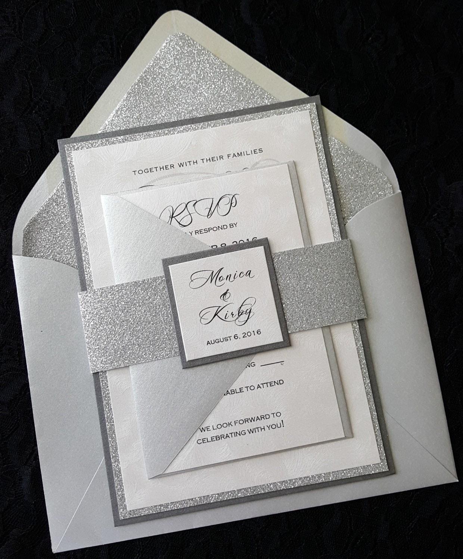 Silver Wedding Invitations: Glitter Wedding Invitation Silver Glitter Wedding