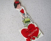 60% OFF Vintage Gardening Girl Valentine's Day Card - Midcentury Classroom
