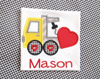BOY VALENTINE SHIRT Heart Tow Truck Personalized Shirt Valentine's Day School Party Boy Name Transportation Tshirt Infant Toddler Clothing