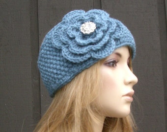 Crochet Flower Head Wrap Headband Earwarmer Winter Knit Blue and Sparkle Button