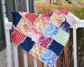 Baby Rag Quilt- Ready to ship Rag Quilt, blue rag quilt, green rag quilt, baby shower gift, baby girl rag quilt, one of a kind rag quilt