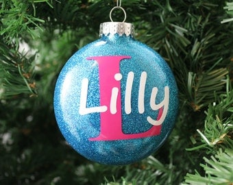 Teal and Pink Glitter Personalized Glass Ornament