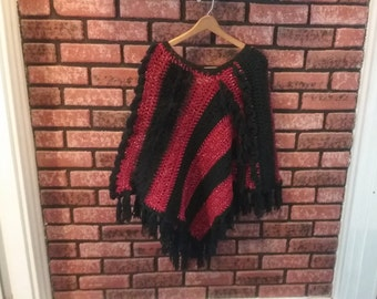 black and burgundy ladies or teenagers poncho