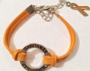 MS Awareness Bracelet, Leukemia Awareness Bracelet, CRPS Awareness Bracelet with orange ribbon charm