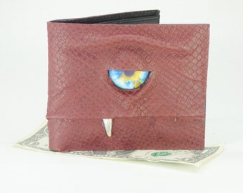 Leather Wallet Red Dragon Skin Monster Face Harry Potter Labyrinth Fantasy Magic The Gathering