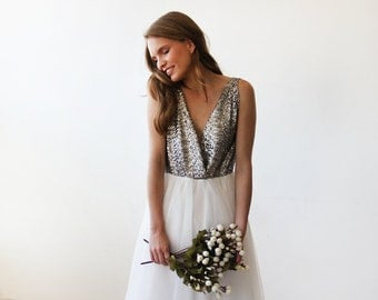 Silver sequins bridal tulle gown, Tulle and sequins wedding gown 1094