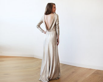 Light Gold backless maxi dress with long sleeves, Open back maxi bright gold gown with long sleeves 1097