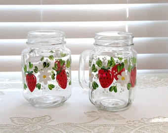 Hand Painted Strawberry Mason Jar Style Drinking Glasses with Handles, Set of Two