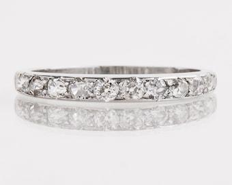 Antique Wedding Band - Antique 1920's Platinum Diamond Wedding Band