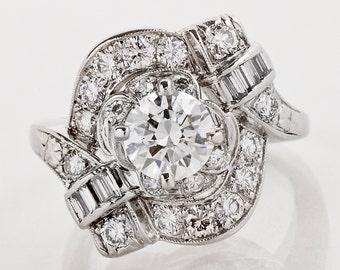 Vintage Ring - Vintage Retro 1930's-40's Platinum Diamond Engagement Ring