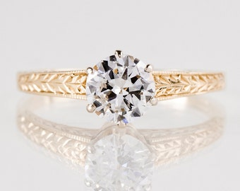 Antique Engagement Ring - Antique Edwardian 14K Yellow Gold Solitaire Diamond Engagement Ring