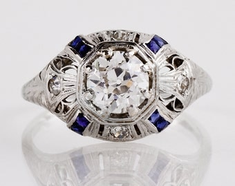 Antique Engagement Ring - Antique Art Deco 18K White Gold Diamond and Sapphire Engagement Ring