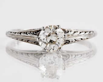 Antique Engagement Ring - Antique 1920s 18k White Gold Filigree Diamond Engagement Ring