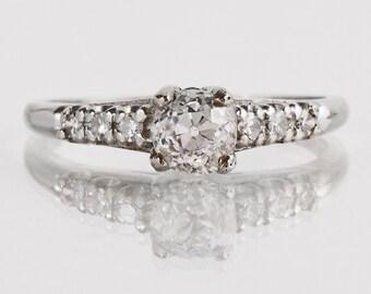Antique Engagement Ring - Antique Platinum Diamond Engagement Ring