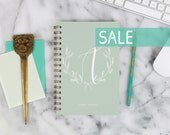 """SALE! 2016 Weekly Planner """"Olive Green Personalized Initial"""" with monthly spreads, back pocket, stickers, adhesive tabs and more"""