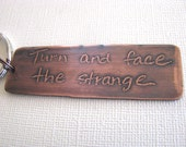 David Bowie, Bowie, Quote, Changes, Copper, Key Chain, Keychain, Handcrafted, Etched