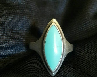 Vintage 90s Cat Eye Shape Silver Stamped 925 Polished Turquoise Boho Hippie Alternative Grunge Ring
