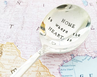 """Hand stamped vintage """"home is where the heart is"""" silver spoon"""