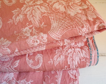 """Vintage FRENCH DAMASK TICKING, Pink with White Art Nouveau Pattern of Baskets and Flowers. 100cm x 170cm or 39 """" x 67 """"."""
