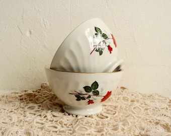 Pair of 2 Vintage FRENCH BREAKFAST BOWLS, White Porcelain with Red Roses, Cafe au lait Bowls. Stamped Sarreguemines.