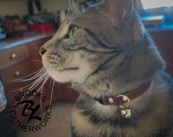 Cat Tag Collar, Cat Collar, Leather Cat Collar, Custom Cat Collar, Pet ID Tag, Cat Nametag, 3/8 Inch Wide Cat Collar
