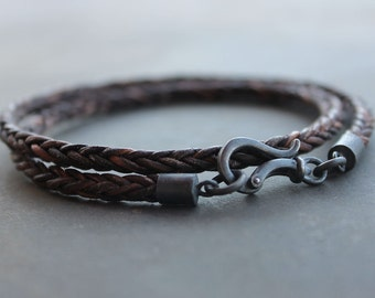 Leather Mens Bracelet with darkened sterling silver clasp - Braided bracelet Anniversary gift  for men, father, husband, boyfriend