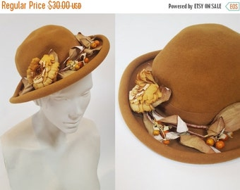 SHOP IS AWAY --- 1980s Mustard Yellow Foraged Floral Wool Bowler Hat