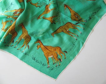 Vintage Giraffe Pure Silk Scarf! Lovely Condition with Colors as Fresh as Can Be!