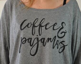 Coffee and Pajamas Long Sleeve Shirt Grey Color