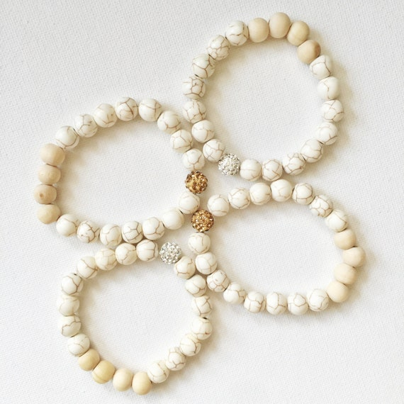 1 essential oil beaded white turquoise tan wood bracelet gold or silver rhinestone
