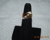 18K GEP Gold Plated Cubic Zirconia Ring Mod Era Size 4 3/4