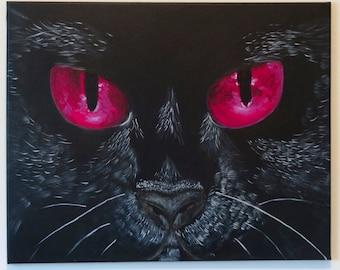 Black Cat Original Painting- Acrylic Paint Art Close Up Face Black Hot Pink Magenta Fucsia Dark