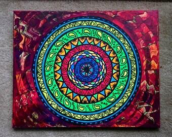 Mandala Painting - Original Artwork Colorful Fluorescent Colors Psychedelic