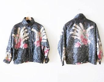 90s Windbreaker / 90s Floral Windbreaker Jacket / Black Jogging Zip Up Jacket