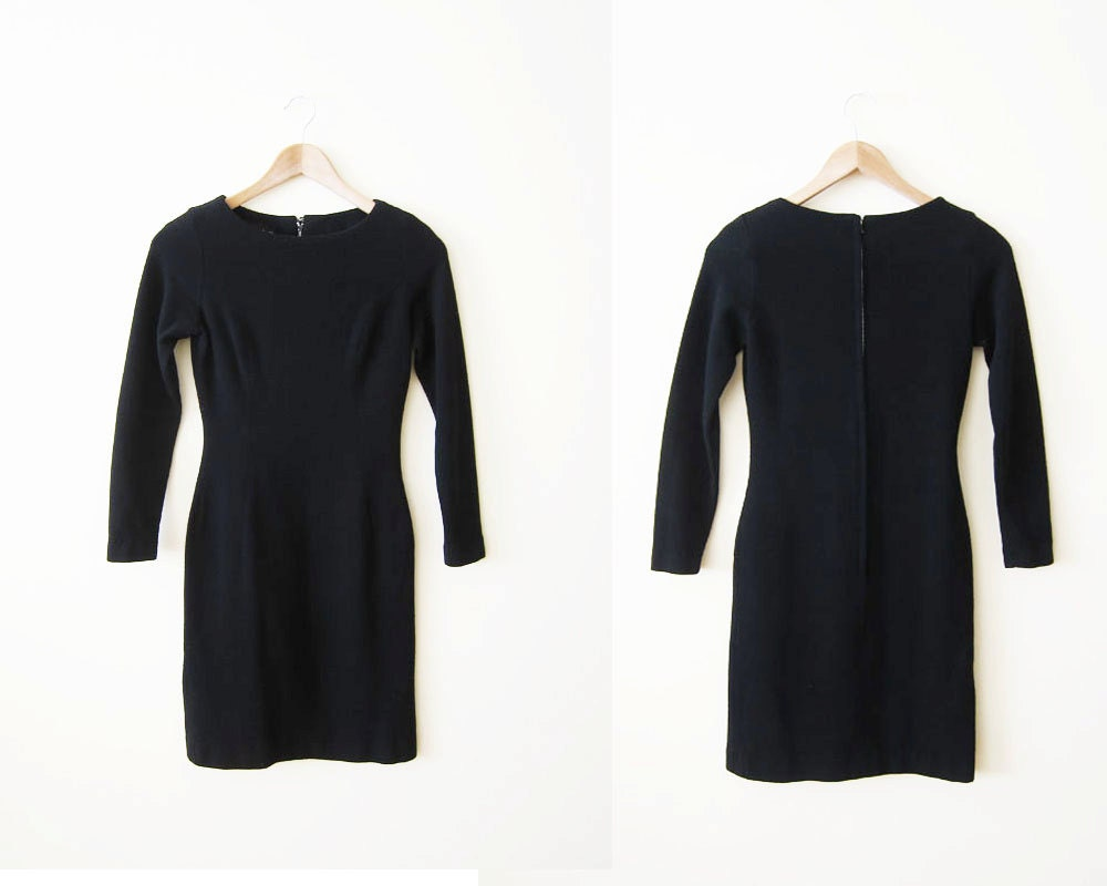 1960s Black Sheath Dress / 60s Long Sleeve Wool Mini by MILKTEETHS