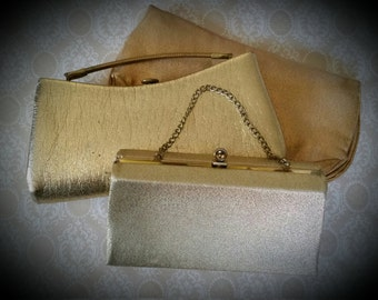 3 Lovely Vintage Shimmering Gold Purses | For Embellishing | Bridesmaids | Bedazzling