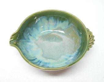 Pottery Gravy Boat Medium Ceramic Batter Bowl Pottery Batter Bowl Ceramic Gravy Boat Pouring Bowl Serving Bowl in Blue and Green