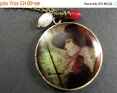 VALENTINE SALE Elegant Woman Locket Necklace with Red Coral and Fresh Water Pearl. Handmade Jewelry.
