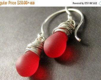VALENTINE SALE STERLING Silver Wire Wrapped Earrings - Rose Red Frosted Drop Earrings. Dangle Earrings. Handmade Jewelry.